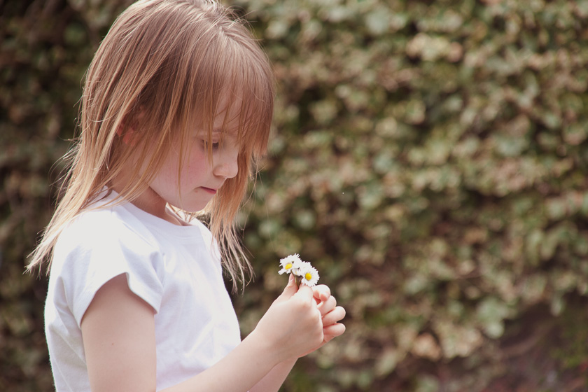 Girl Making a Daisy Chain