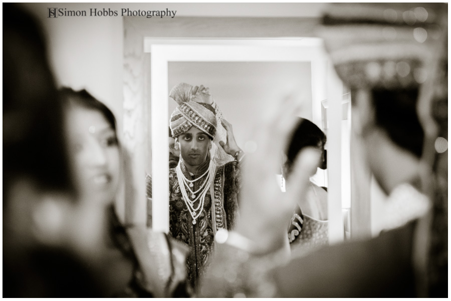 06-Hindu-Groom-Preparing-Eastwood-Hall-Nottingham-Black-And-White