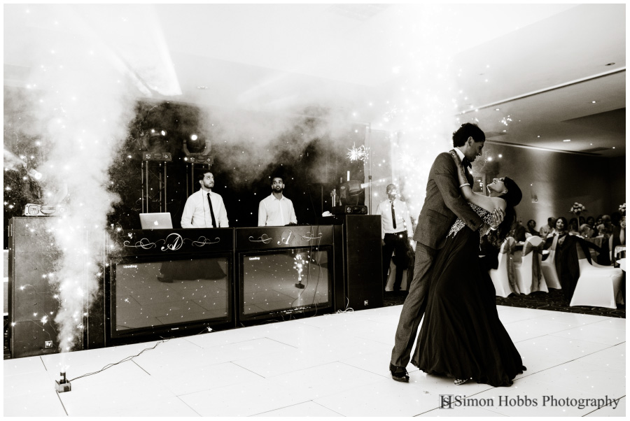 29-First-Dance-With-Fireworks-Eastwood-Hall-Black-And-White